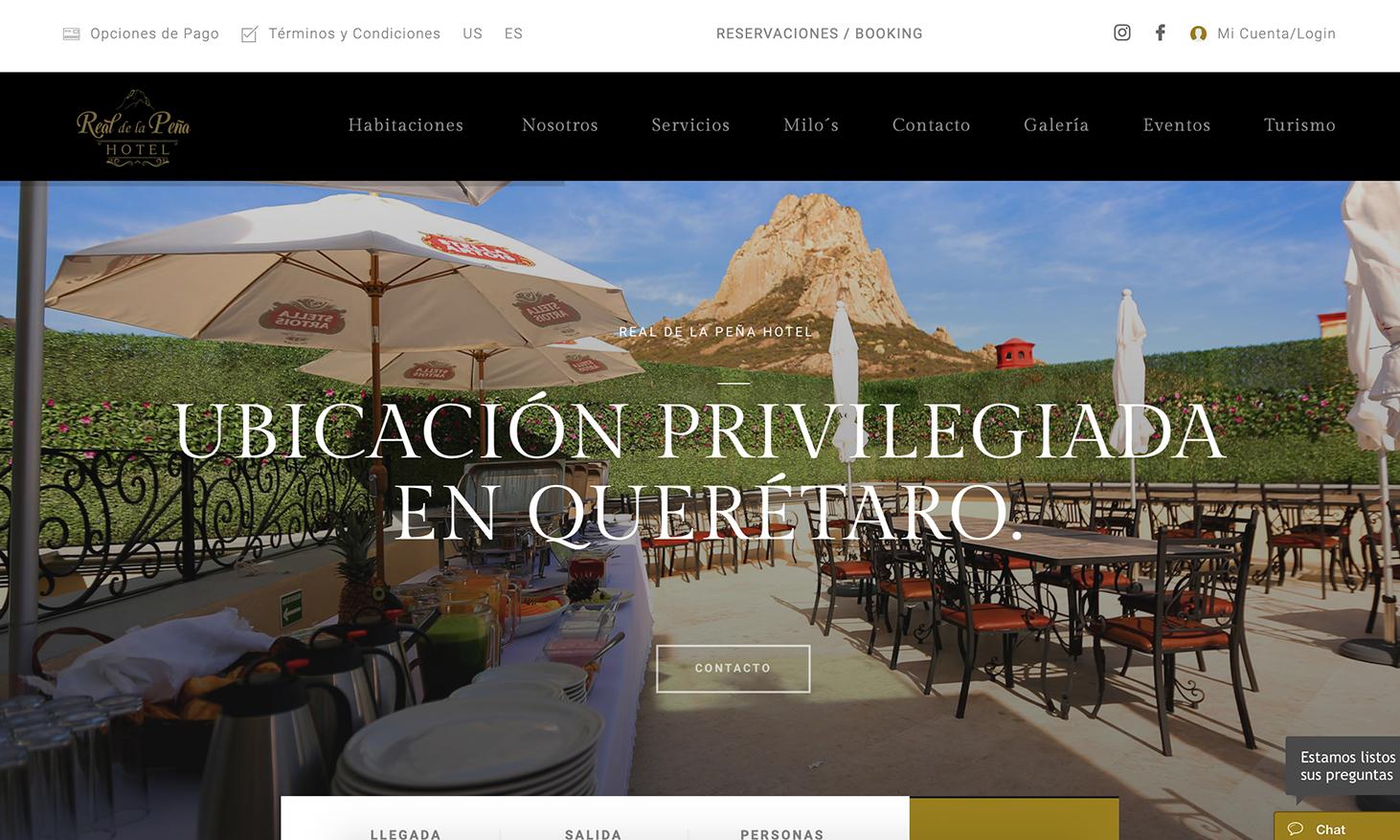 Sitio web Real de la Peña Hotel